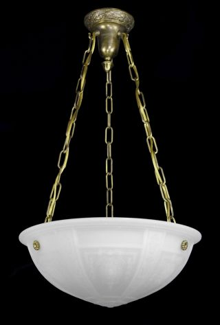Milk Glass Pendant Brass Bronze Antique Vintage Hanging Light Lantern Large photo