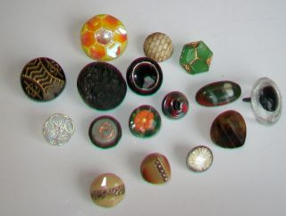 Lot Vintage Antique Glass Buttons Ab Czech Paperweight Lusters Tints Eye Rhinest photo