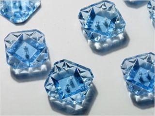 (8) 16 Mm Vintage Blue Square Transparent Depression Glass Buttons photo