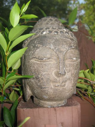 "Small Antique Chinese Carved Stone Buddha Head,  3 Lb. ,  5"" photo"