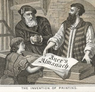 1800 ' S Invention Of The Printing Press Ayer ' S Medicine Almanac Cure Trade Card photo