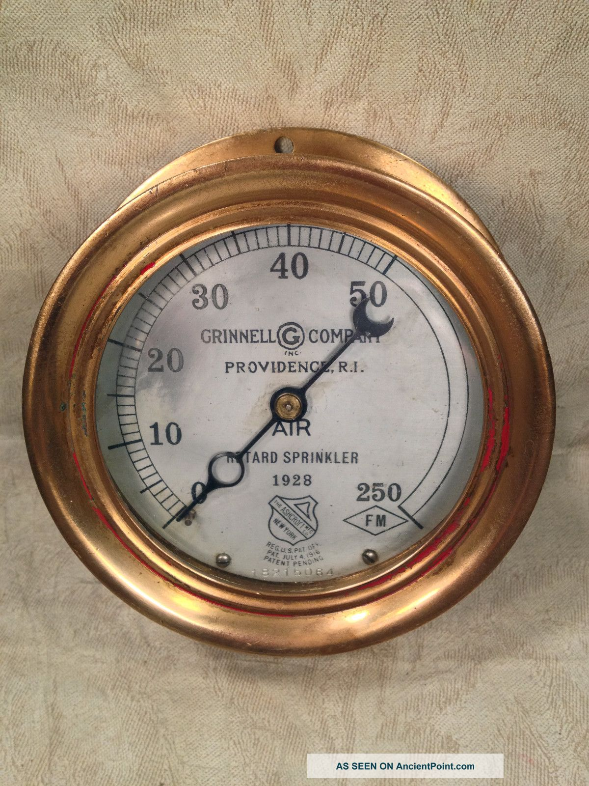 Antique All Brass Case Grinnell Co Pressure Gauge Providence Ri Reg July 1916 Other photo