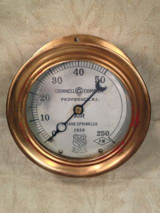 Antique All Brass Case Grinnell Co Pressure Gauge Providence Ri Reg July 1916 photo