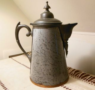 1890s Tall Dappled Grey Graniteware (enamel) & Pewter Coffee Pot (teapot) photo