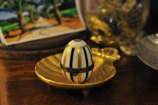 Unfindable La Seynie Porcelain Limoges France Hand Painted Egg Box - Nina Ricci photo