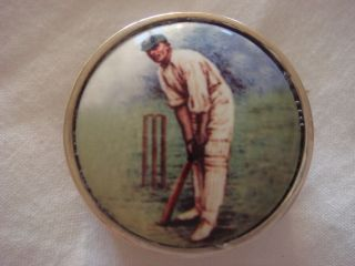 Fine Solid Sterling Silver Hallmarked Enamel Cricket Snuff Pill Case Hinged Top photo