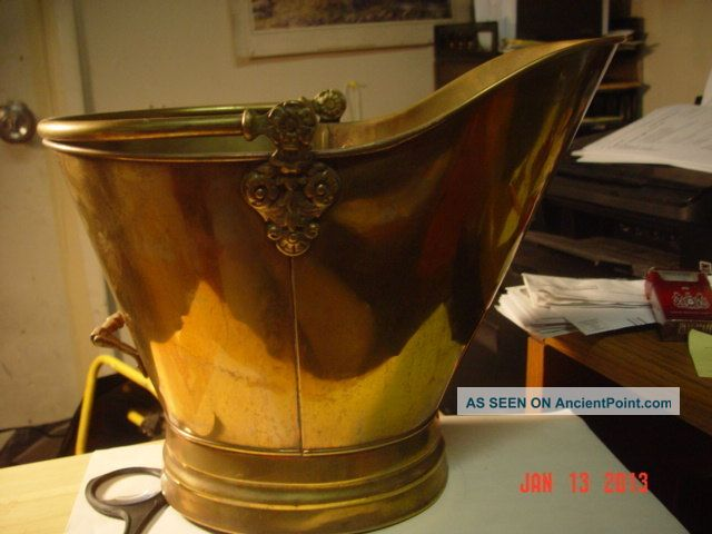 Antique Brass Coal Hod/scuttle W/delft Handle Holland Hearth Ware photo