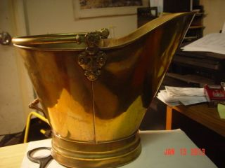 Antique Brass Coal Hod/scuttle W/delft Handle Holland photo
