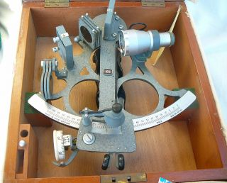 Kelvin Hughes Sextant In Canvas Covered Timber Fitted Case Made In 1962 photo