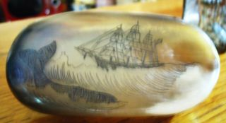 Antique Maritime Box W.  Whale & Ship Marine Decor Engraved Carved Ox Bone photo