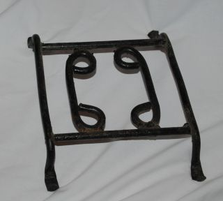 Antique Primitive Hand Forged Iron Hearth Trivet 1800s photo
