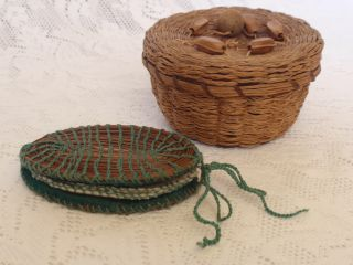 Vintage Hand Sewing Splint Weave Needle Case & Sweet Grass Basket W Wood Beads photo