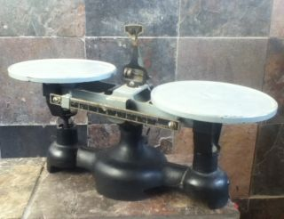 Antique Balance Scale Cast Iron Double Beam 10 Grams Welch Scientific Navy Gray photo
