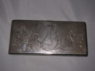 Solid Silver Chinese Silver Cigarette Case 184 Grammes photo