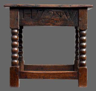 18th Century English Antique Oak Joint Stool Seat Georgian Antique Carved Oak photo