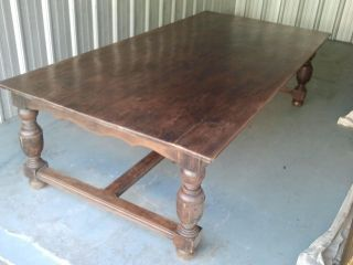 French Country Provencial Oak Dining Or Farm Table photo