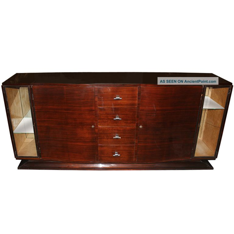 French Art Deco Buffet/ Sideboard Rosewood W/ Display 1900-1950 photo