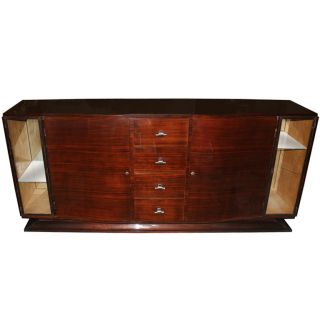 French Art Deco Buffet/ Sideboard Rosewood W/ Display photo