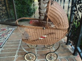 Antique Vintage Doll Carriage Stroller Pram Wicker Unmarked photo