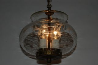 Brass & Wheel Cut Glass Colonial Pendant Light Chandelier W/ Electric Candles photo