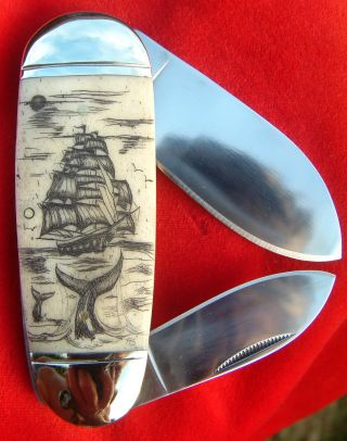 Nautical Scrimshaw Art,  Tall Ship,  Whales,  2 Blade Folding Knife/knives photo