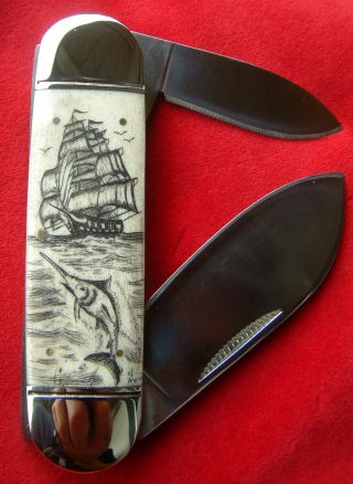 Scrimshaw Art,  Tall Ship,  Marlin,  Sunfish 2 Blade,  Folding Knife/knives photo