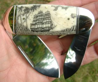 Scrimshaw Art,  Tall Ship,  Palms,  Islands,  Harpoons,  2 Blade Folding Knife/knives photo