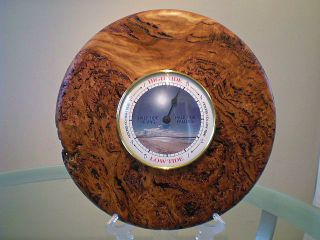 Large Australian Blackbutt Burl Wood Turned Wall Tide Clock photo