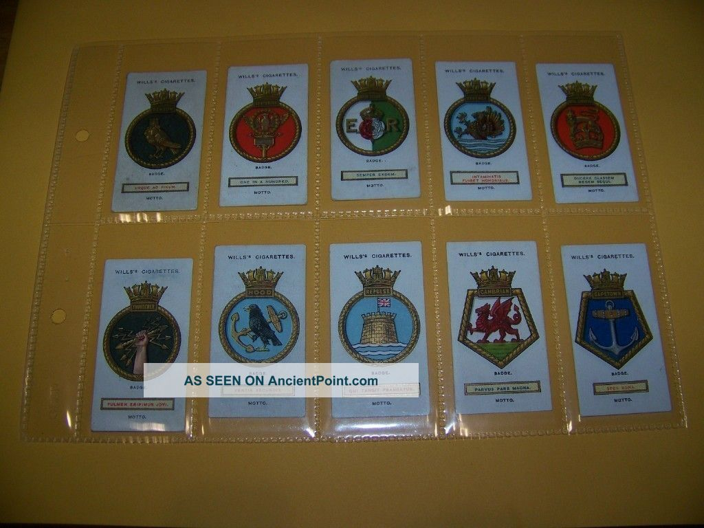 1925 Ships Badges,  Cigarette Cards,  88 Years Old Set In Plastic Sleeves Ship Equipment photo