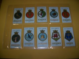 1925 Ships Badges,  Cigarette Cards,  88 Years Old Set In Plastic Sleeves photo