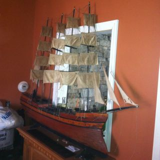 Large Vtg Pirate Wooden Model Tall Ship Sailboat 65