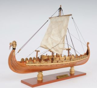 Drakkar Dragon Viking Ship Wooden Model Small 15