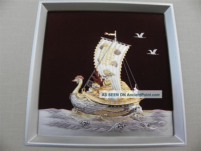Japanese Sterling Silver.  999 Phoenix Treasure Ship In Relief By Takehiko Japan Other photo