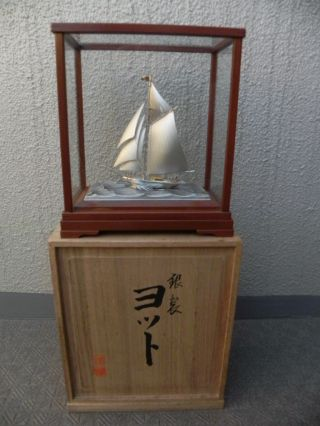 Finest Quality Antique Signed Japanese Sterling Silver Model Ship By Seki W Box photo