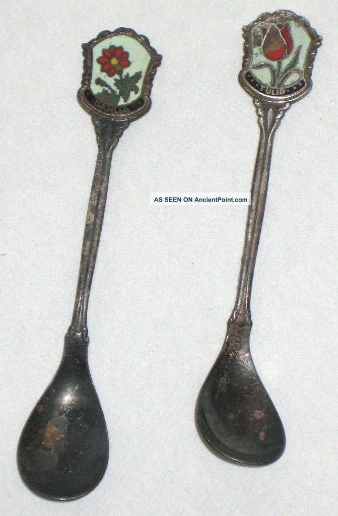 2 Antique Nieuwpoort Silver Plate Cloisonne Souvenir Spoons Netherlands 1910 Souvenir Spoons photo