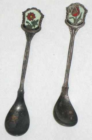 2 Antique Nieuwpoort Silver Plate Cloisonne Souvenir Spoons Netherlands 1910 photo