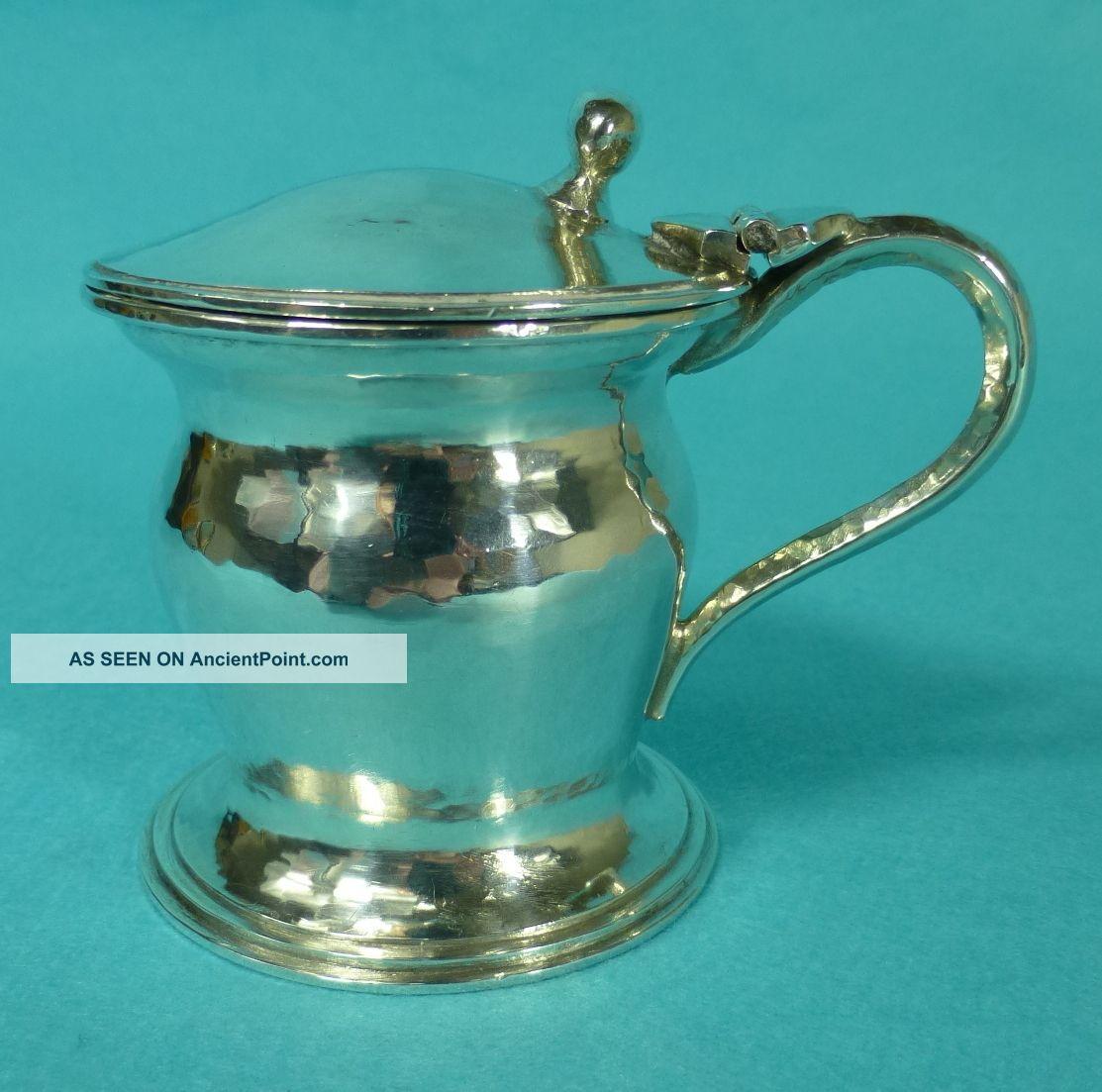 Rare Arts & Crafts Sterling Silver Mustard Pot Liner Omar Ramsden London 1930 Mustard Pots photo