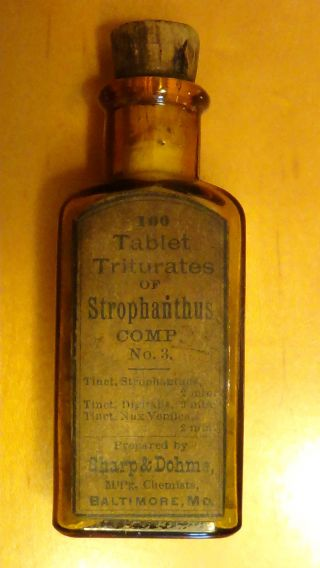 Antique 1800 ' S Sharp & Dohme Medicine Bottle Tablet Triturates Or Strophanthus photo