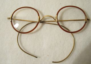 Vintage Gold Plate Wire,  Faux Tortoise Shell Rimmed Bifocal Eyeglasses photo