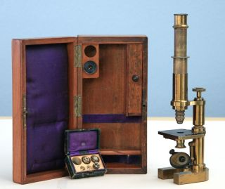 E Hartnack & Co Paris & Potsdam Antique Brass Continental Microscope W/case 1883 photo