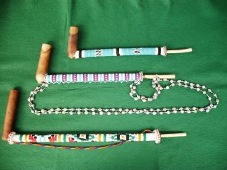 Large South African Beaded Pipes - Three Off photo