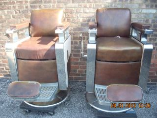 2 - Koken (triumph) Model Barber Chairs,  Good - Condition,  Tan Upholstery photo