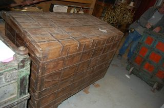 Large Antique Trunk/romney Chest/gypsy Dowery Trunk/kitchen Island/storage Decor photo