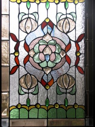 Antique American Stained Glass Window Panel photo