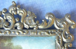 Vintage Italian Silk Print In An Ornate Brass Frame,  Good Condition photo