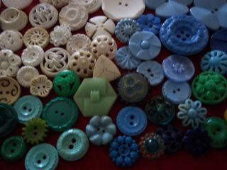 115 Buttons Lots Vintage Rhinestone New Glass Antique Czech Plastic Bakelite Sew photo
