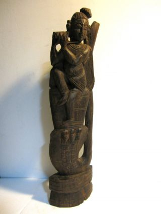 Rare Antique Wood Carved Statue Figure Playing Flute – African Oriental Tribal ? photo