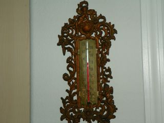 Antique 1890 ' S/1900 ' S Cast Iron Very Ornate Thermometer With Angels And Roses photo