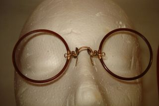 1/10 Gold 12k Pince Nez Frames Eye Glasses Optical Spectacles Antique No Lenses photo