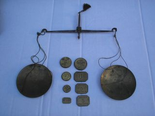 Old Anitique 18th Or 19th Century Coin Scales And Weights Oak Case Red photo